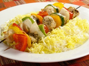 Chicken Kebabs and Rice
